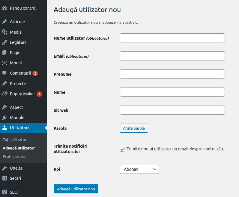 adaugare utilizator WordPress